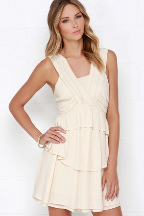 JOA Fly and Flutter Beige Dress at Lulus.com!