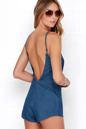 Rhythm Birkin Blue Chambray Romper at Lulus.com!