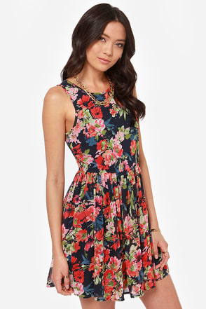 Others Follow Dela Navy Blue Floral Print Dress