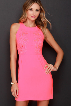 Days Glow By Neon Pink Embroidered Dress at Lulus.com!
