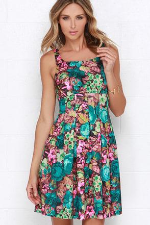 Darling Alice Teal Floral Print Dress at Lulus.com!