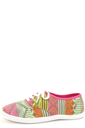 Wild Diva Lounge Marsden 01 Neon Pink Canvas Lace-Up Sneakers