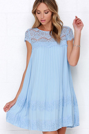 Darling Demi Light Blue Lace Shift Dress at Lulus.com!