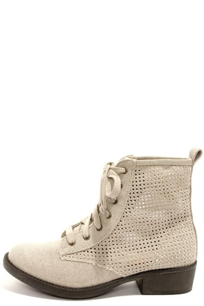 Rocket Dog Tave Beige Heavy Washed Canvas Boots