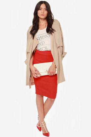 Midi Madness Red Midi Skirt