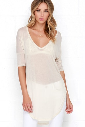 Sierra Light Beige Tunic Top at Lulus.com!