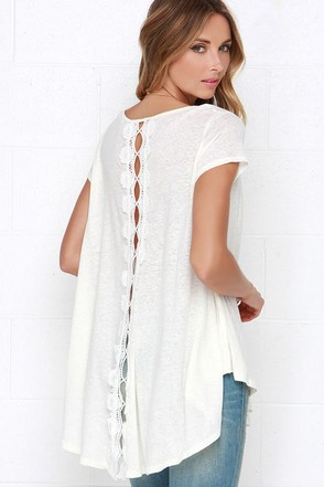 Midday Mirage Cream Lace Top at Lulus.com!