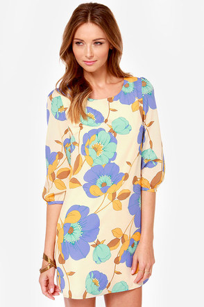 The Vine Print Beige Floral Print Shift Dress