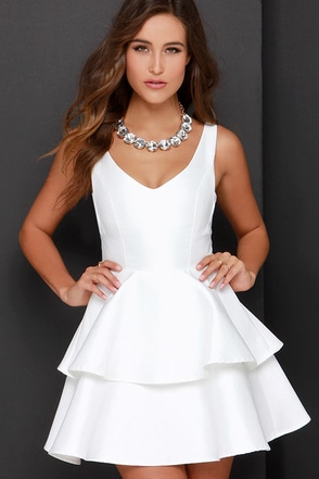 Ruffles and Truffles Ivory Skater Dress at Lulus.com!