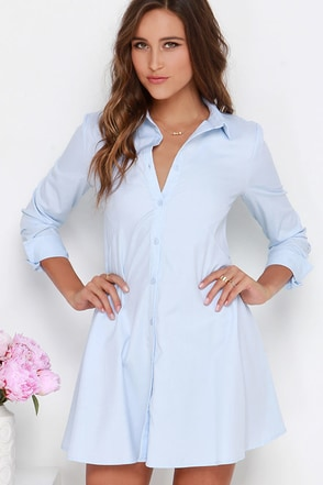 Ready, Set, Prep Light Blue Shirt Dress at Lulus.com!