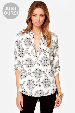 LULUS Exclusive Fine and Dandelion Ivory Print Top