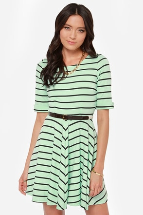 Others Follow Charlotte Black and Mint Striped Dress