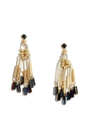 That's Show Biz Gold Beaded Earrings at Lulus.com!
