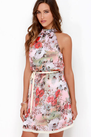 Dusty Pink Floral Print Dress at Lulus.com!