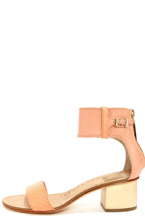 Dolce Vita Foxie Tangerine Snake Ankle Strap Leather Sandals