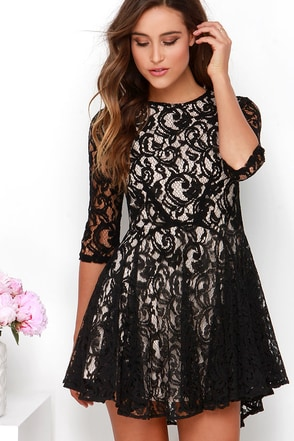 Hey There, Darlin' Beige and Black Lace Dress at Lulus.com!