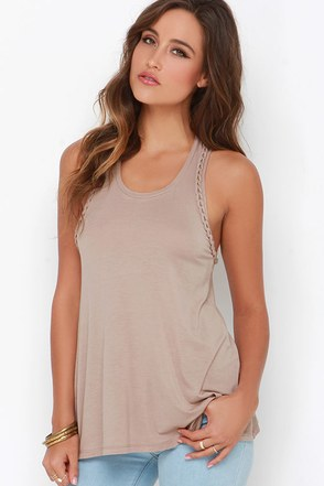 French Braid Dark Grey Racerback Top at Lulus.com!