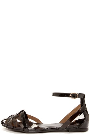 Wanted Malibu Black Patent Strappy Sandals