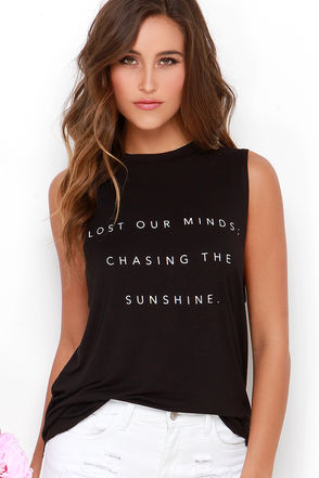 The Fifth Label Stay With Me Black Lost Our Minds Muscle Tee at Lulus.com!