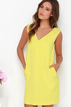 Shift in Perspective Yellow Shift Dress at Lulus.com!