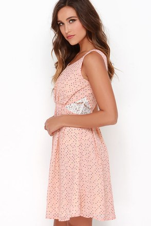 Dolomita Peach Polka Dot Dress at Lulus.com!