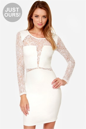 LULUS Exclusive All Over the Lace Ivory Lace Dress