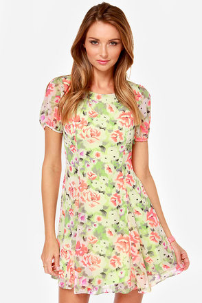 Keen on Neon Green Floral Print Dress