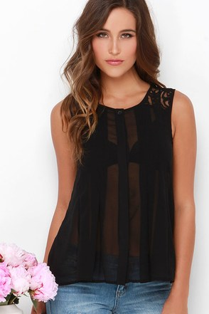 Palta Black Lace Button-Up Top at Lulus.com!