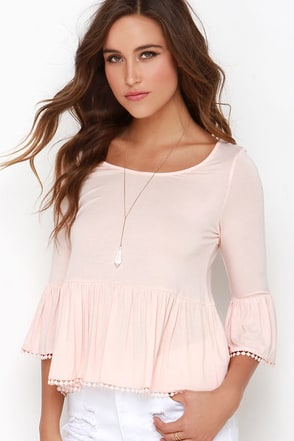 Stay Sweet Blush Peach Babydoll Top at Lulus.com!