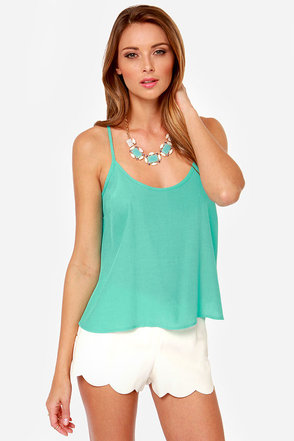 Lucy Love Solid Capri Aqua Tank Top