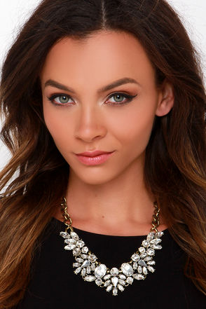 Don't Stop Gleaming Gold Rhinestone Statement Necklace at Lulus.com!