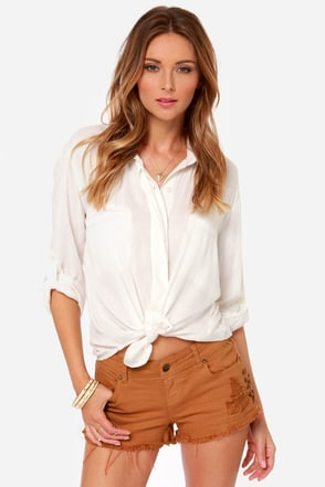 Billabong Lite Hearted-Side Cutoff Brown Jean Shorts at Lulus.com!