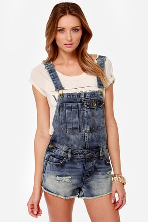 Billabong Ovah n Ovah Distressed Denim Overalls