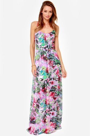 Hot Tropic Magenta Floral Print Maxi Dress