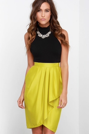 Leave Me Breathless Chartreuse High-Low Wrap Skirt at Lulus.com!