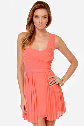 Prim and Promenade One Shoulder Coral Dress
