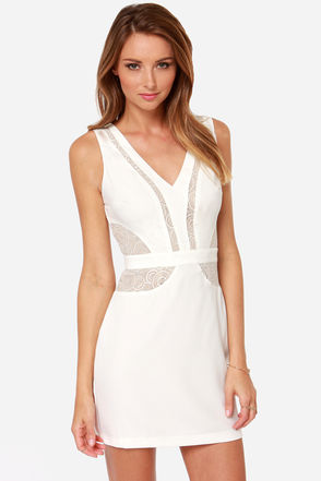 Sweet and Hourglass Ivory Lace Dress