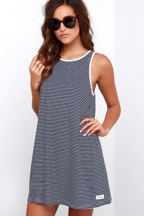 Rhythm The Strokes Ivory and Navy Blue Striped Dress at Lulus.com!