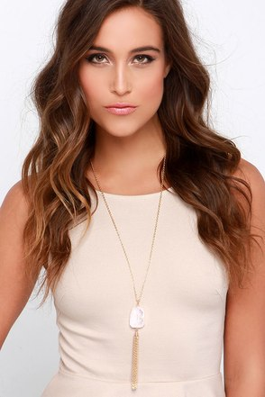 Keep Dreaming Gold and Pink Crystal Tassel Necklace at Lulus.com!