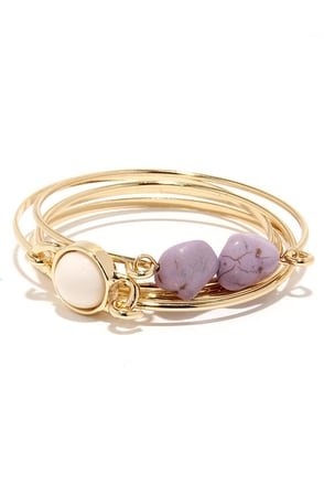 Hillside Heydey Gold and Lavender Bracelet Set at Lulus.com!