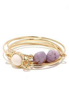 Hillside Heydey Gold and Lavender Bracelet Set at Lulus.com!