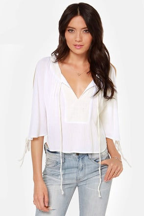 Flow Where You Want To Ivory Lace Top