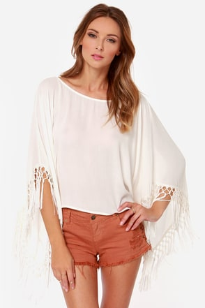 Love Flow Ivory Fringe Top