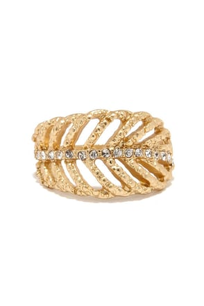 Treetop View Gold and Rhinestone Ring at Lulus.com!