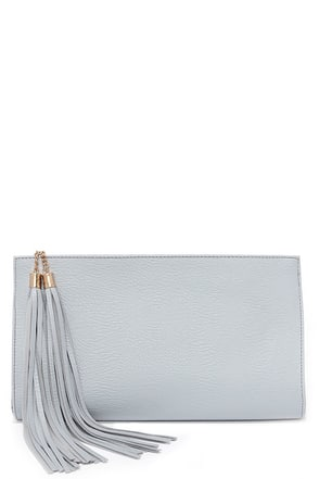 Top Deck Blue Grey Clutch at Lulus.com!