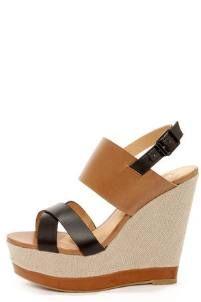 Report Nicole Tan Color Block Wedge Sandals at Lulus.com!