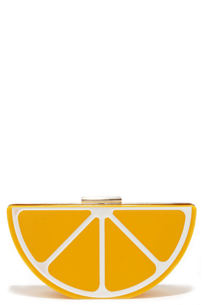 Pucker Up Yellow Lemon Clutch at Lulus.com!