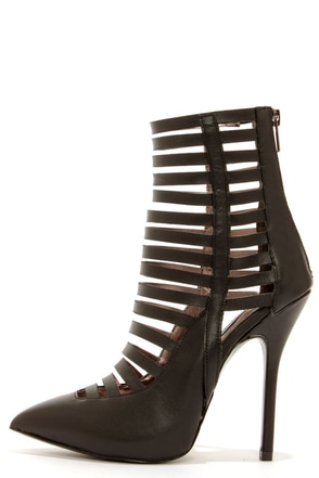Steve Madden Lauper Black Caged High Heels