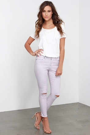 Aline Light Mauve Distressed Ankle Skinny Jeans at Lulus.com!