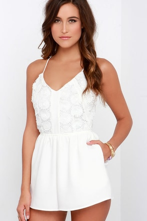 Deep Sea Diver Ivory Lace Romper at Lulus.com!